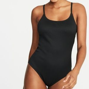 Old Navy Textured Scoop-Back Swimsuit Black